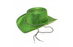 HAT: GLITTER COWBOY (ADULT) GREEN